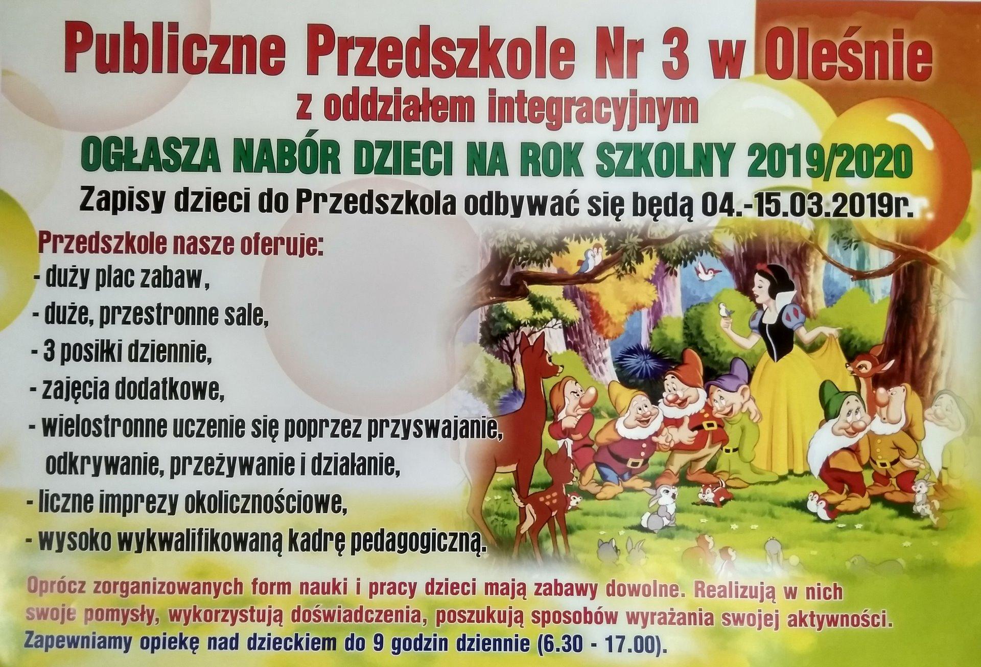 Nabór dzieci do przedszkola na rok szkolny 2019/2020