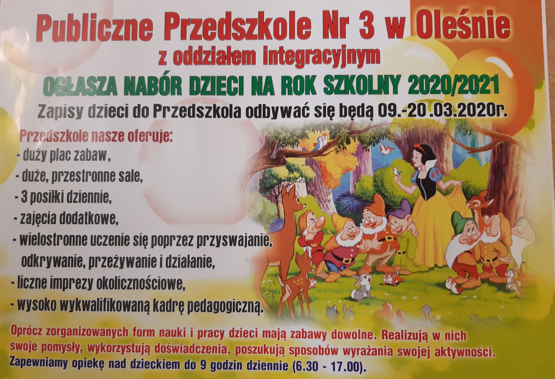 Nabór dzieci do przedszkola na rok szkolny 2020/21
