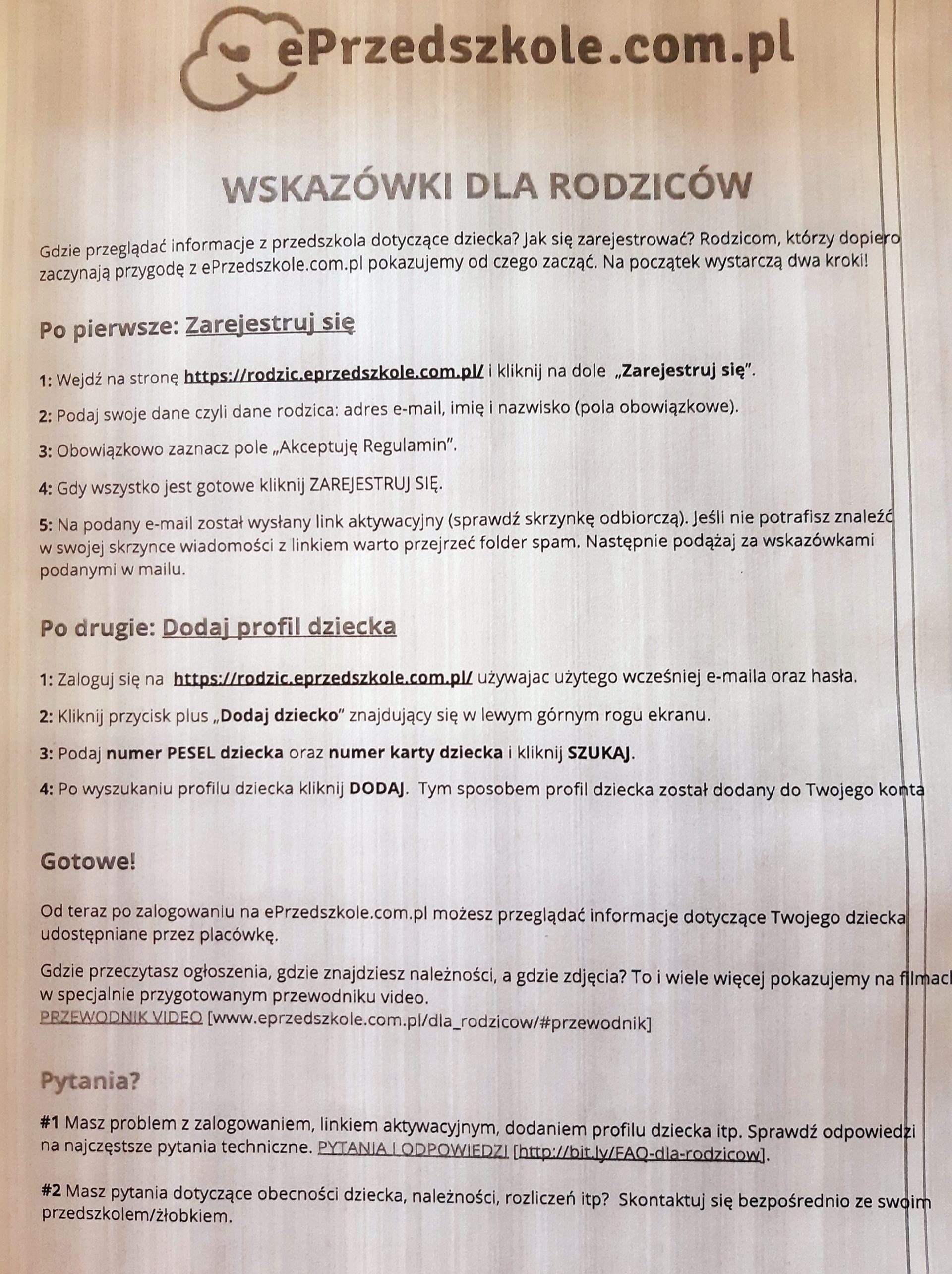 ePrzedszkole.com.pl  - wskazówki dla rodziców